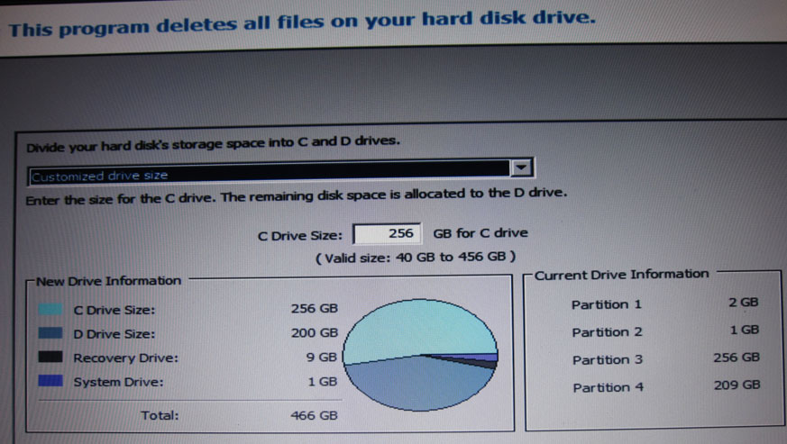 Vaio F Series Partitioning the Hard Drive