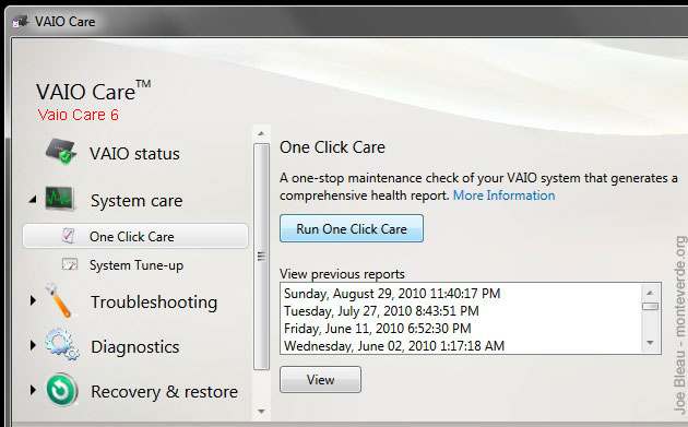 Vaio Care One Click Care Maintenance