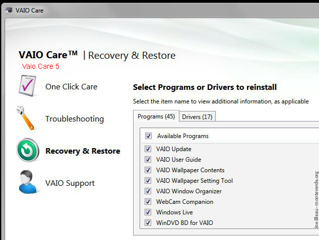 Vaio Care INstall Programs Vaio F Series F11 F12